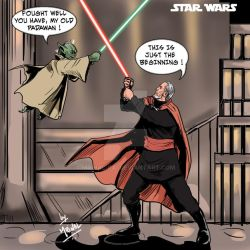 Count Dooku vs Master Yoda by mrinal-rai