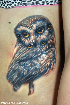 owl tattoo by NikaSamarina