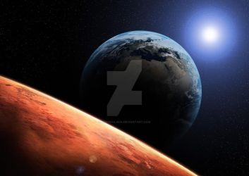 Mars View of Earth by eddyrailgun