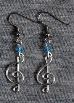 Silver and Blue Treble Clef Earrings by craftymama