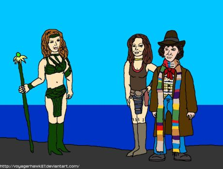 Leela and the 4th Doctor in Phaedos by VoyagerHawk87