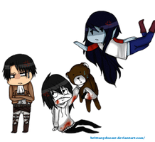 rivaille, jeff the killer and marceline chibi by Duser-JK