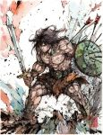 Conan the Barbarian Ink and Watercolor by MyCKs