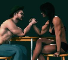 Arm Wrestling by helde33