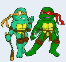Mikey and Raph-rambling by koju327