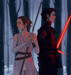 Kylo Ren and Rey by Mellobird