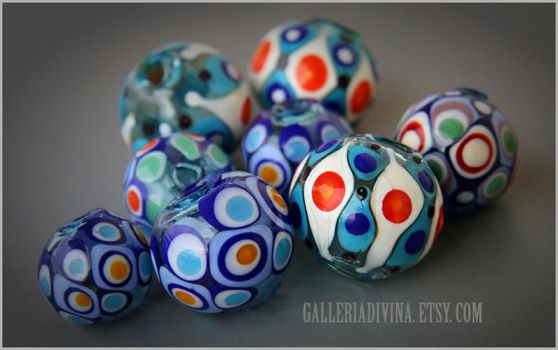 Big blown glass beads - Multicolor by Faeriedivine