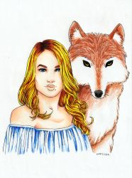 Girl and Wolf by epresvanilia