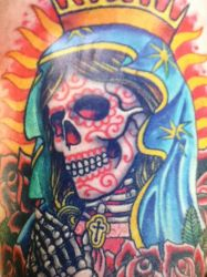 Virgin Mary (Dia De Los Muertos Version) tattoo by Zilly666