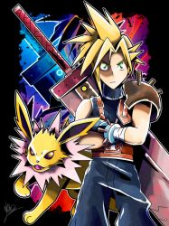 CLOUD STRIFE AND JOLTEON!! by villi-c