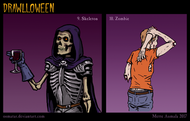 Drawlloween: Skeleton + Zombie by Osmatar