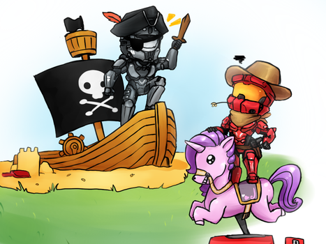 Space Pirates VS Rainbow Cowboys by No-pe