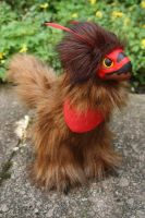 Red and Brown Raptor-Dragon Art Doll by Creature-Cave