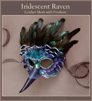 Iridescent Raven Leather Mask by windfalcon