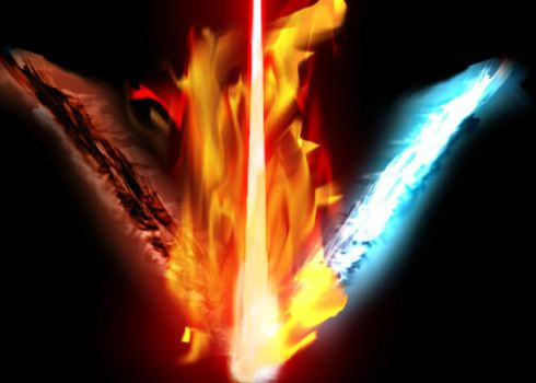 Flame, Energy, and Lightsaber by Jasdog565