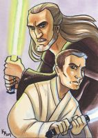 Qui-Gon and Obi Wan by kayjkay