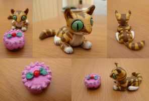 FIMO Tabby Cat Cake Time by Shaami