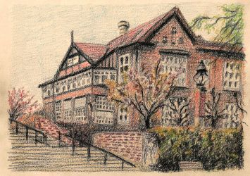 Drawing of Bispebjerg Hospital 01 by JakobHansson