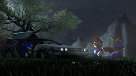 3 Mascots, and a Delorean by Cyberstorm42X