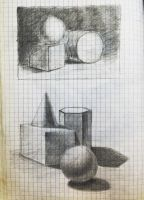Academic drawing training - group of primitives by Pumais