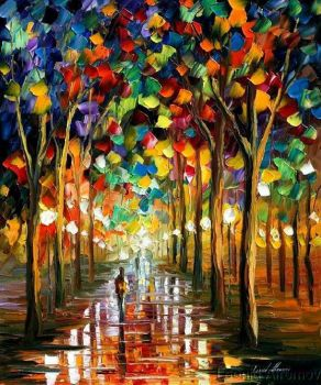 Afremov RAIN PARK Original Art by Leonidafremov