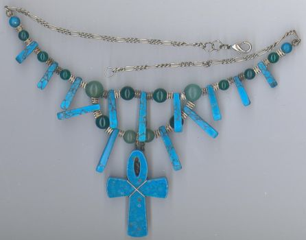 Turquoise and Green Onyx Ankh by Windthin