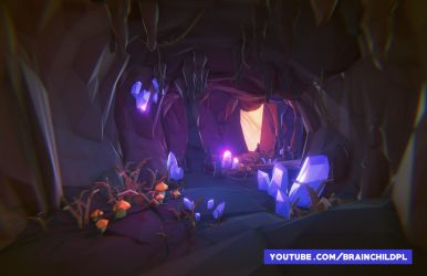 Low poly game art - low poly cave #lowpoly by brainchilds