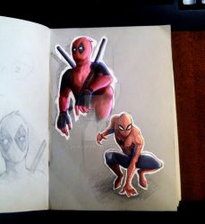 Spider-man and DeadPool by lukikaman