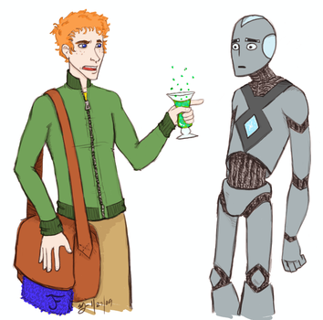 Ford Prefect and Marvin by KellyDawn