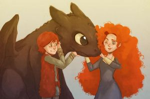 Merida meets Hiccup and Toothless by Do0dlebugdebz