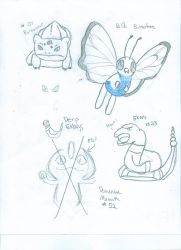 Pokemon Drawings (uncolored) by HeyDerpface