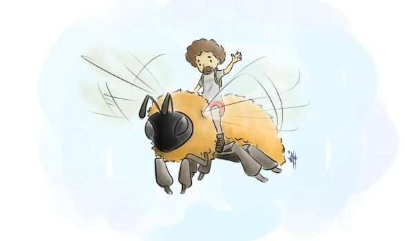 Flying on a bumblebee by Sir-Ar