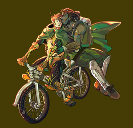 Commission: Two dude in love on a bike by Lorsenal