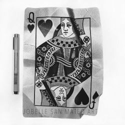 Queen of Hearts Card Pen Drawing by jsanmateo