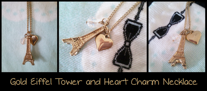Gold Eiffel Tower and Heart Necklace by Feyon