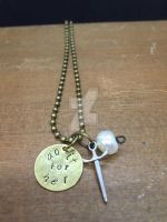 Pearl stamped pendant by theevergreenburrow