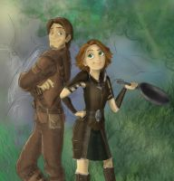 Skyrim Rapunzel and Flynn by incetcan