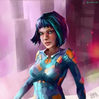 Sci-Fi Girl Character Sketch III by IonfluxDA