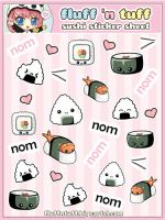 Sushi Sticker Sheet by Fluffntuff