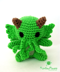 Green Amigurumi Sea Monster Cthulhu Plush Toy by RainbowReverie