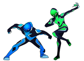 GSA Blue and Green Rangers by NickOnPlanetRipple