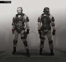 GITS Enemy Soldier concept design sheet. by tataar