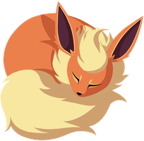 Sleeping Flareon by wingedwolf94