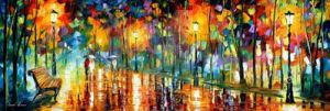 Midnight Walk by Leonid Afremov by Leonidafremov