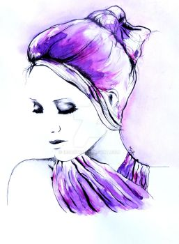 Rough day portrait in watercolor by IRSart