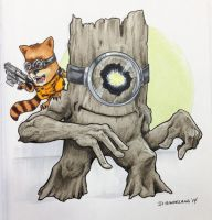 Minion Groot w/  Rocket Racoon PIttsburgh Con 2014 by DKHindelang