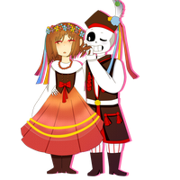 SansxFrisk in polish folk clothes by Est1Miyamae