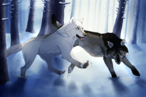 :Collab: Winter Forest by TheInfiniteChaos