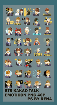 BTS Kakao Talk  Emoticon Render PNG 40p by tauotauomaker