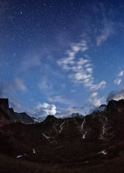 Starry Night above three waterfalls by DeingeL